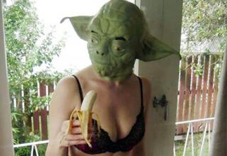 Sexy Yoda eats a banana