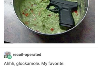 a glock pistol in a bowl of guacamole with text that says glockamole