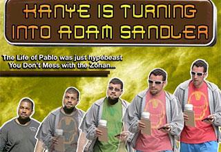 meme of knaye west becoming adam sandler