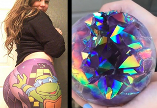 a girl wearing ninja turtles yoga pants and a beautiful multi colored stone