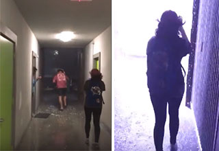 guy running down a school hallway and a woman standing n front of a bright light