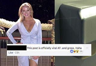Lady standing in dress, hand dryer and facebook post about going viral