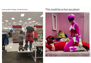power rangers in carress and a child holding hands with a mannequin