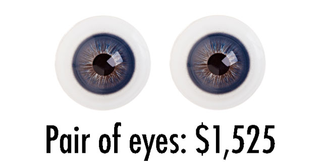 picture of two eyes and the text pair of eyes is worth 1525 dollars