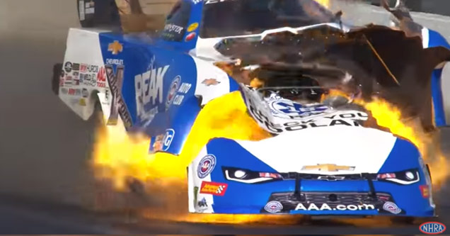 a drag racing car catches on fire and explodes during a race