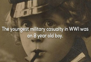 a photo of an 8 year old enlisted boy who died in WWI