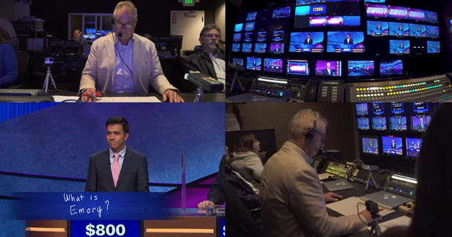 an image split into four panels showing the control room of jeopardy a contestant and the editor of the show