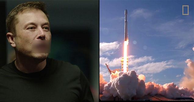 elon musk looking at his rocket launch