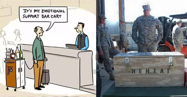 cartoon about an airplane and a marine looking at a wooden box