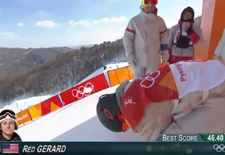 american snow boarder red gerrard getting ready to drop in