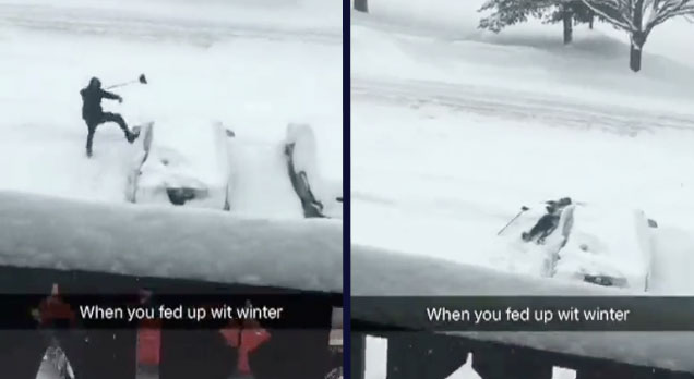 kid shoveling snow and kicking car out of frustration