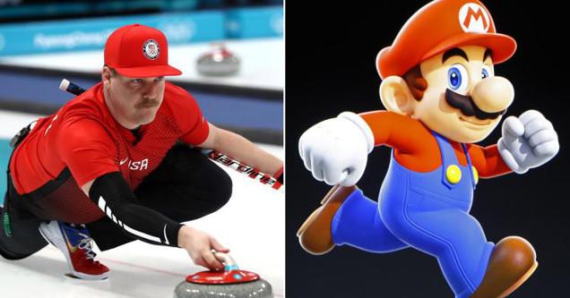 Matt Hamilton compared to Mario at Winter Olympics 2018.