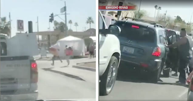 men running with giant teddy bears, guy comes to get them back