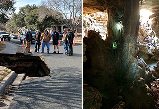 men looking at a sink hole and the inside of a cave