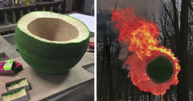 match ball being built, and set on fire