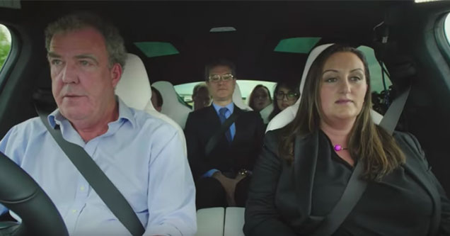 Jermey Clarkson in a tesla with a group of lawyers