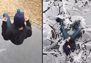 kid jumping onto a trampoline covered in ice next to a photo of the ice shattering in slow motion