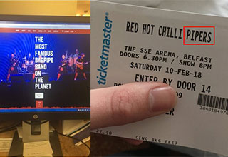 red hot chilli pipers tickets not chili peppers