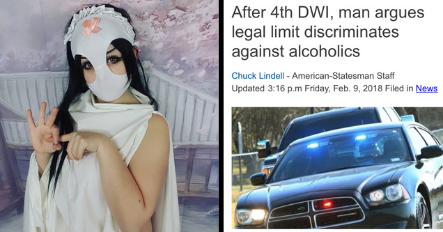 a woman with black hair wearing a white robe and a pair of womens panties on her head next to a photo of a cop car with a news article about DUI arrets
