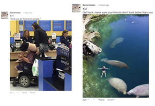 lady sitting on a lady in walmart. lady swimming with manatees.