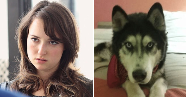 an annoyed looking woman with brown hair next to a photo of a black and white husky dog