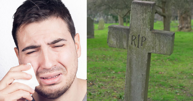 a stock image of a man crying holding a tissue and an old grave stone cross that says RIP