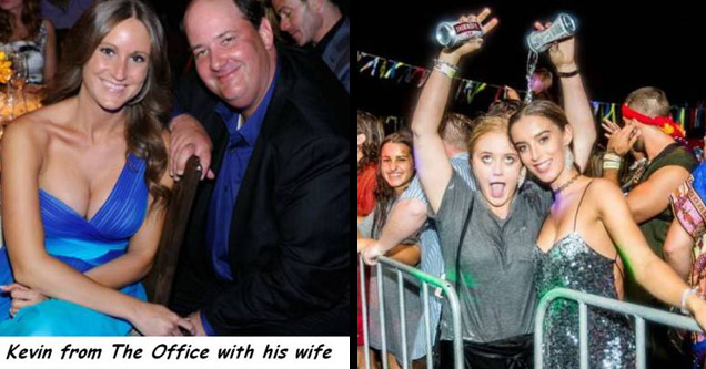 kevin from the office with his busty wife and a girl pouring a beer all over herself