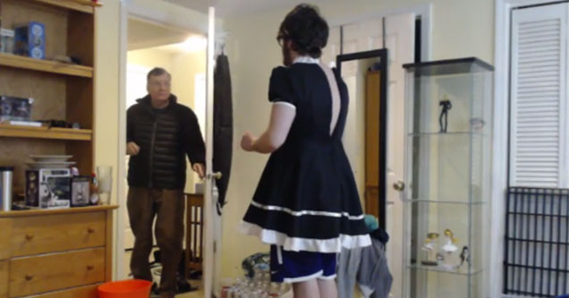 dad catches son in a french maids dress