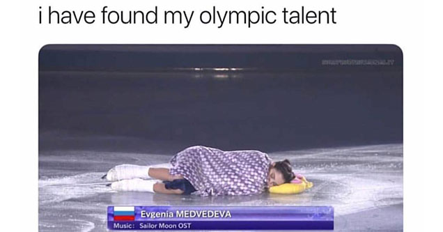 woman sleeping on the ice during the winter olympics