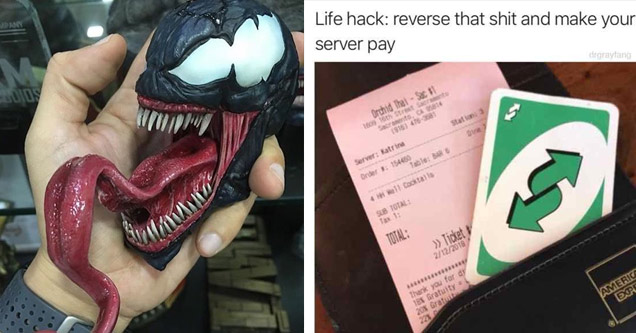 a man holding a model of venom from spiderman with a long tongue and a man using a reverse UNO card to avoid paying for bill