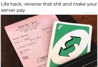 a man using a reverse UNO card to avoid paying for bil