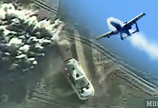 an image of an a 10 warthog plane flying over an SUV and gunfire reining down