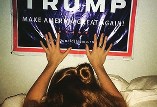 woman gets nailed from behind against Trump poster