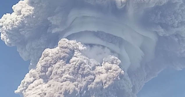eruption cloud from Mt. sinabung