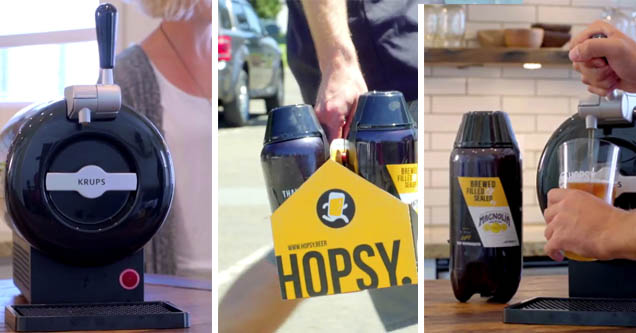 beer being poured from a hopsy