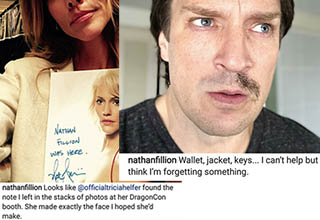 nathan fillion with half of one mustache and a lady holding up a signed photo
