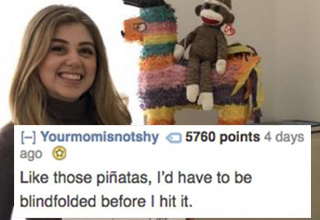 Woman beside piñata receives a good roasting