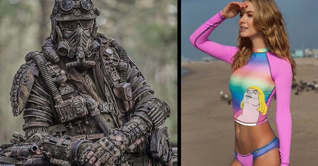 a sniper hidden in camo posing for camera and a girl wearing bright pink heman leotard