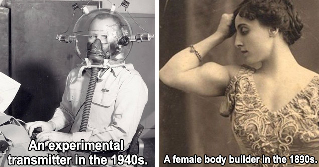 a mean wearing an experimental glass helmet transmitter and a female bodybuilder from the  1980's