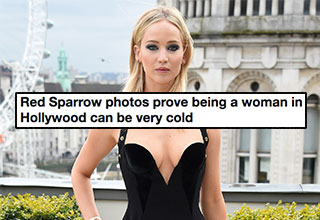 Jennifer Lawrence wearing a black dress in London