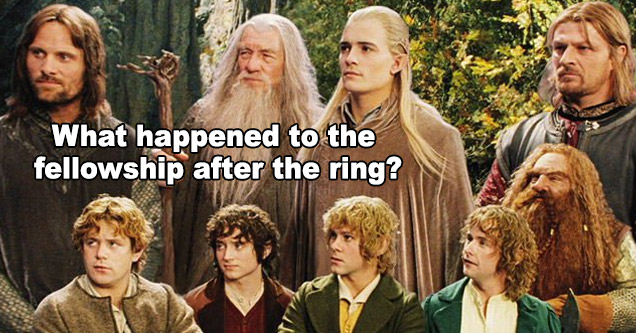 a still from the movie the lord of the rings fellowship of the ring with text asking what happened afterwards