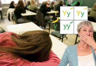 girl puts head down on desk in class woman hold hand over mouth punnett square in background