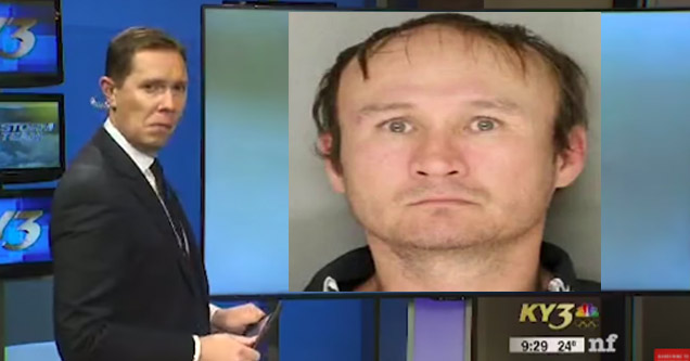 news anchor looking confused and photo of a wanted man