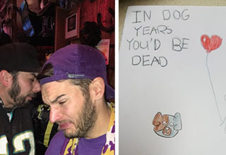 two football fans crying in a dive bar one sports minnesota vikings gear, a card that reads