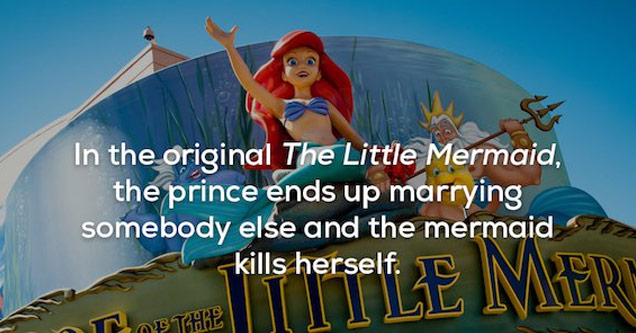 a still from Disney's the little mermaid with text that explains she kills herself in original novel