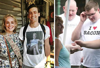 man standing next to lady wearing shirt from movie she is in, guy with an I heart bacon shirt standing next to a woman holding a pig