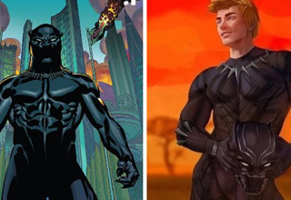 a comic book drawing of black panther and an artists version with a white black panther