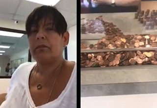 woman at water company office paying bill with pennies
