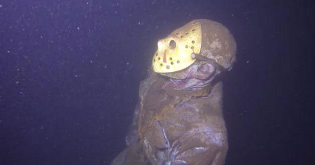 Jason Voorhees statue at the bottom of a lake