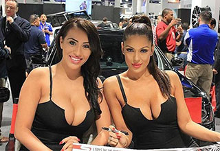 cute booth babes at a car show